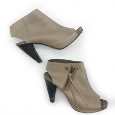 JOIE BOOTIE SHE'S ELECTRIC OPEN TOE HEEL LEATHER ANKLE BOOTS ZIP PUMPS 37 / 7