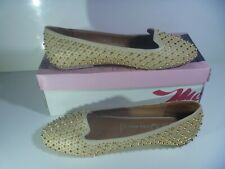 JEFFREY CAMPBELL MARTINI EMBELLISHED SHOES STUD DOLLY FLAT PUMP LOAFERS NUDE 7