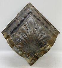 Antique Vintage Metal Tin Ceiling Tile Corner Reclaim Primitive Rustic Salvage