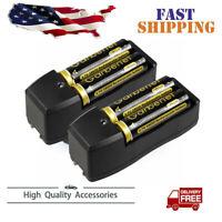 4PCS 3.7v Li-ion Garberiel ①⑧⑥⑤0 Battery Rechargeable Batteries +US Dual Charger
