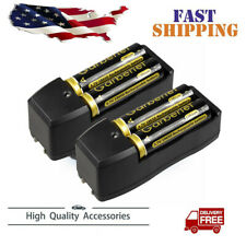 4Pcs 18650 Battery 3.7v Li-ion Rechargeable Batteries + 2 x Dual Charger USA