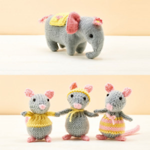 elephant and mice toys double knit knitting pattern 681