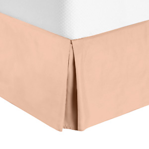 "Premium Luxury Pleated Tailored Bed Skirt - 14"" Drop Dust Ruffle, Full XL -Peach"