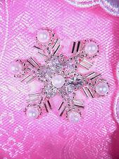 "XR284 Sequin Rhinestone Applique Crystal Silver Pearl Snowflake 1.5"""