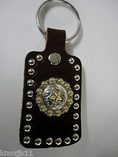NEW Brown Dbl LEATHER Western KEY CHAIN RING Cowboy Gold Star Conchos Amish USA