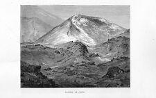 Stampa antica montagna vulcano ETNA il cratere Catania 1877 Old print