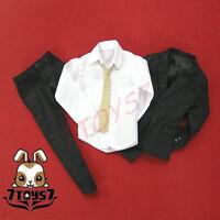 Wild Toys 1/6 Black Suit Set_ Blazer + Pants + shirt +tie _Formal uniform WT009C
