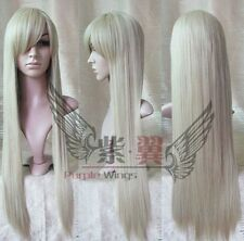 New Long Platinum-Blonde Cosplay Party Straight Wig 80cm Free Shipping ##W