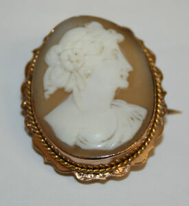 Vintage 9ct Rose Gold Cameo Brooch 25 x 20mm