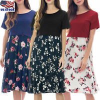 Pregnant Summer Floral Dress Women Maternity Short Sleeve Short Dress Sundress