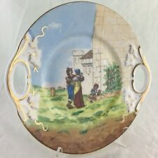 ANTIQUE CAKE/CABINET PLATE GOLD IVY LEAF HANDLES FRENCH OR ITALIAN VILLAGE SCENE