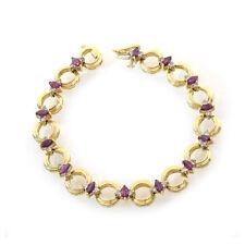 0.50 Carat Marquise Shape Ruby & Round Diamond Tennis Bracelet 14k Yellow Gold