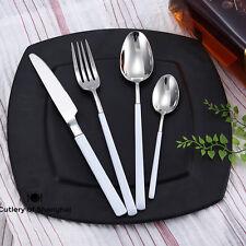 16pcs Stainless Steel 18/10 Cutlery Dinnerware Set White Teflon Coated Handles