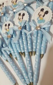 12 pcs Baby shower pens favors Boy Blue Recuerdos Niño Plumas