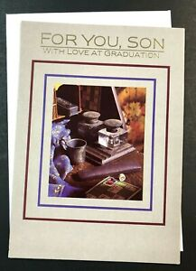 Graduation Card w/ Envelope ~ For You, Son With Love at Graduation