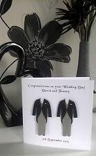 "Gay Marriage Wedding Card Personalised 6"" Morning Suit Cream Tie Civil Same Sex"