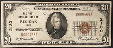 1929 Twenty Dollars Nat'l Currency, The First National Bank of Red Oak, Iowa!
