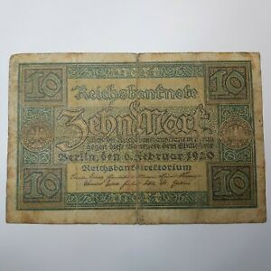 Germany Reich 10 Mark 1920 F #1 Banknote Paper Money FREE POST Collectible