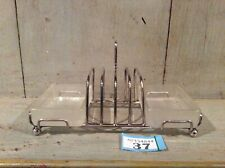 Vintage 4 Slice Toast Rack - Chrome - With Glass Butter / Jam Dish
