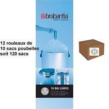 """BRABANTIA LOT 120 SACS POUBELLES  """"H""""   pour poubelle 40/50 litres"""