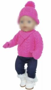 Puppenkleidung 43 cm, Outfit, Winter, Strick, pink, NEU