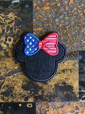 """1 American Flag Minnie Mouse Iron Sew On Patch 2.5"""" L x 2.75"""" W Same Day Ship"""