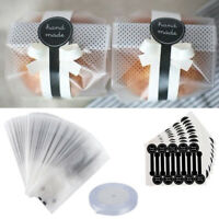 100Pc Pack Translucent Plastic Bags Wrapping Good for Bakery Party with Stickers