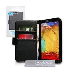 Yousave Accesorios Samsung Galaxy Note 3 Nuevo Negro Pu Cuero Cartera Funda Protectora
