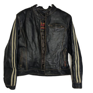 Hot Leathers Mens Motorcycle Jacket Dark Brown Distressed Leather Size L