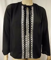 City Chic Black Lace Polyester Long Sleeve Top Plus Size XS 14 BNWOT C699