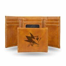 San Jose Sharks NHL Laser Engraved Brown Trifold Wallet