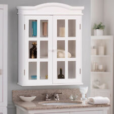 Wall-Mount Bathroom Storage Cabinet Medicine Organizer Double Doors Shelved New