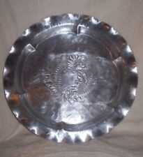 """Vtg. Lehman Aluminum Hand Forged 15 1/2"""" Tray Round Floral Wreath Scalloped Rim"""