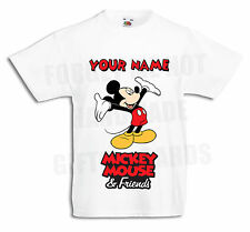 Mickey Mouse Personalised Boys, Girls White T Shirt disney 3-6mths to 12-13yrs