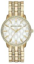 New MICHAEL KORS NINI Gold Crystal Glitz Logo Stainless Steel Women Watch MK3214