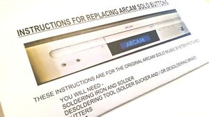 Button Replacement Kit For Arcam Solo Music System 13 switches with Instructions