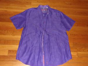 ROBERT GRAHAM SHORT SLEEVE PURPLE BUTTON FRONT DRESS SHIRT MENS LARGE EXCELLENT