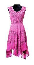 Stonewashed Rayon Embroidered Long Dress