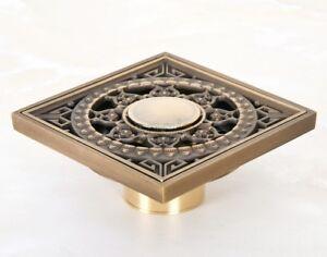 Antique Brass Sun Pattern Bath Floor Drain Shower Waste Water Drainer 8hr053