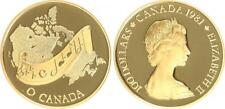 Kanada 100 Dollar Gold 1981 Nationalhymne 1/2 Unze, Polierte Platte, Zertifikat