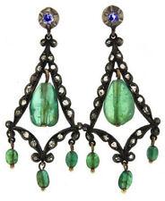 Victorian 925 Silver Dangler Earring 1.16ct Rose Cut Diamond Emerald Sapphire