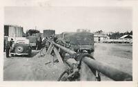 1945 US Army GI's France Photo Army motor pool Gas Station trucks, jeeps, cars