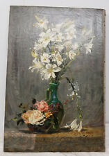 Antique Fine French Still Life Oil on Canvas Painting Signed Illegibly Lillies