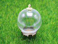 DIY Globe Glass Bottle Pendant 25mm with Bronze Base Memory Locket Wide Mouth Op
