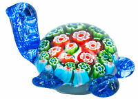 Glass Paperweight-Blue Turtle with Green Millefiori Flower Design (11x8x6cms)-AU