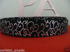 "7/8"" (22mm) Foil Printed Grosgrain Ribbon - By the Metre - #4445 Black Scroll"