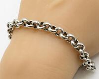 925 Sterling Silver - Vintage Minimalist Linked Loops Chain Bracelet - B3743
