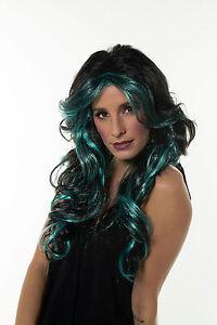 Black/ Aqua Green Halloween Sexy Witch Long Wavy Wig G243Aqua