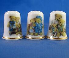Birchcroft Thimbles -- Set of Three -- Teddy Bear Family