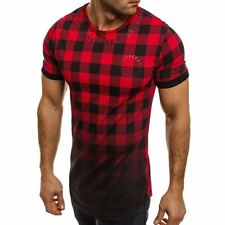 Fashion Men's Slim Fit O Neck Short Sleeve Plaids Tee Shirts T-shirt Casual Tops